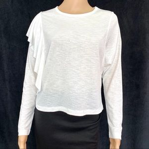 NWOT Zara Knit Ruffle Long Sleeve Top